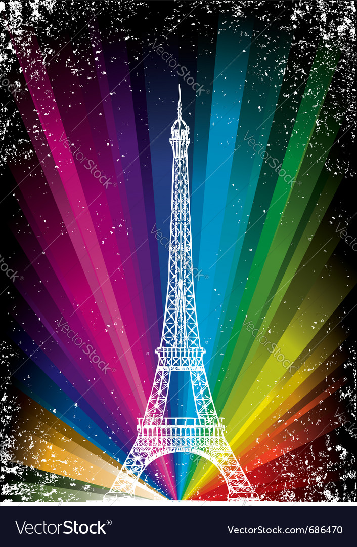 Card with eiffel tower vector | Price: 1 Credit (USD $1)