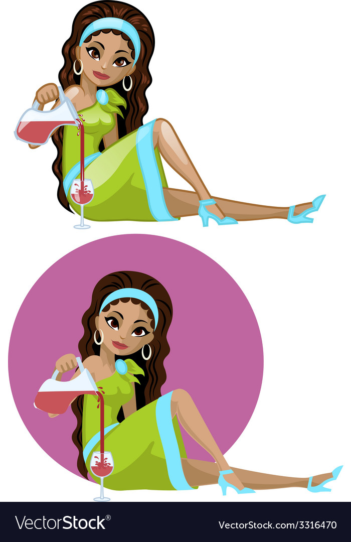 Cute young indonesian woman in cocktail dress vector | Price: 3 Credit (USD $3)