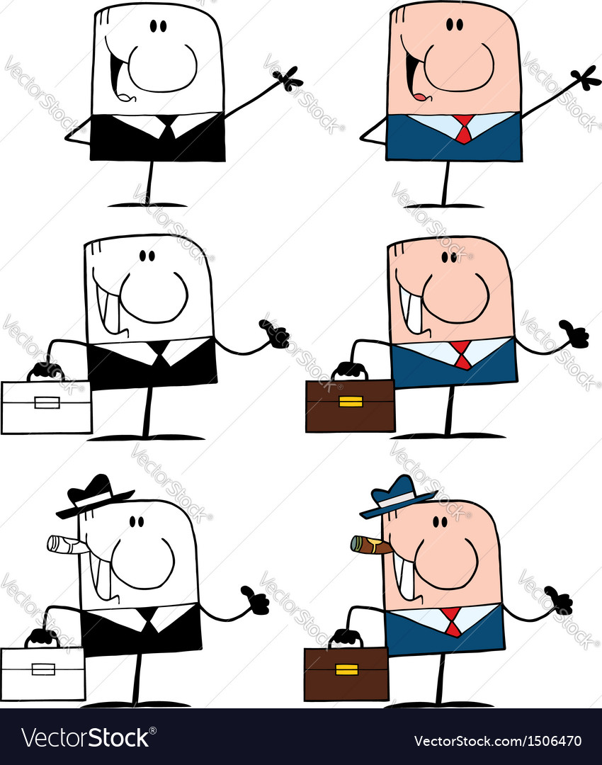 Doodle business men- collection vector | Price: 1 Credit (USD $1)