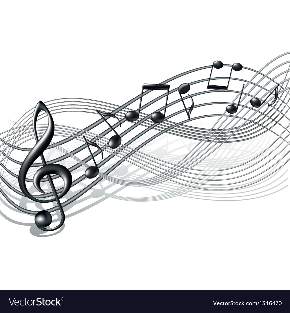 Musical notes staff background on white vector | Price: 1 Credit (USD $1)
