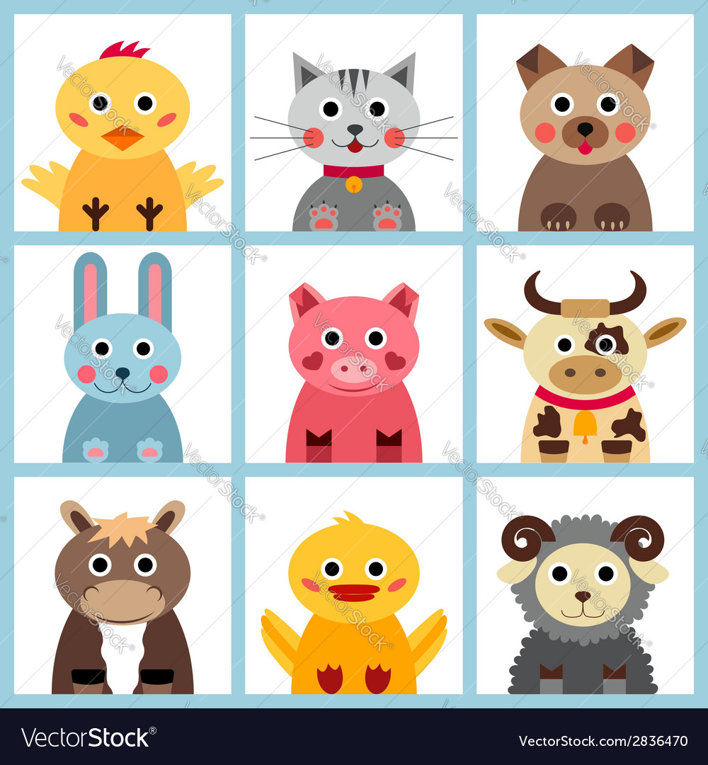 Set of nine farm animals vector | Price: 1 Credit (USD $1)