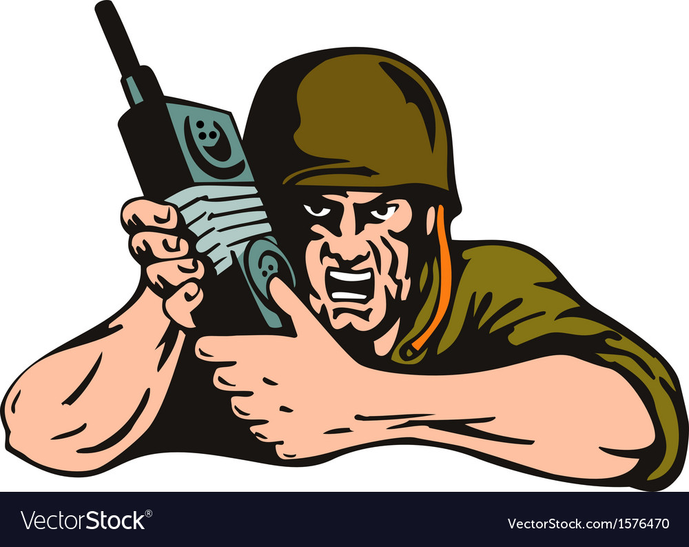 Soldier with radio vector | Price: 1 Credit (USD $1)