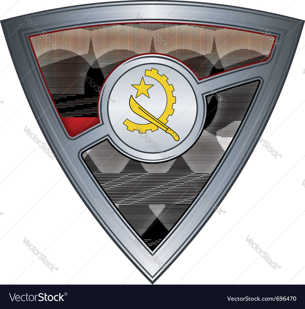 Steel shield with flag angola vector | Price: 1 Credit (USD $1)