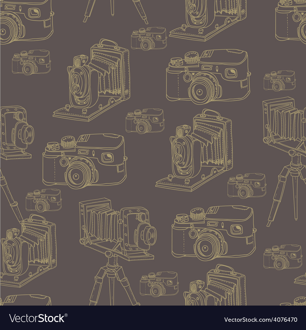 Vintage seamless background with retro camera vector | Price: 1 Credit (USD $1)