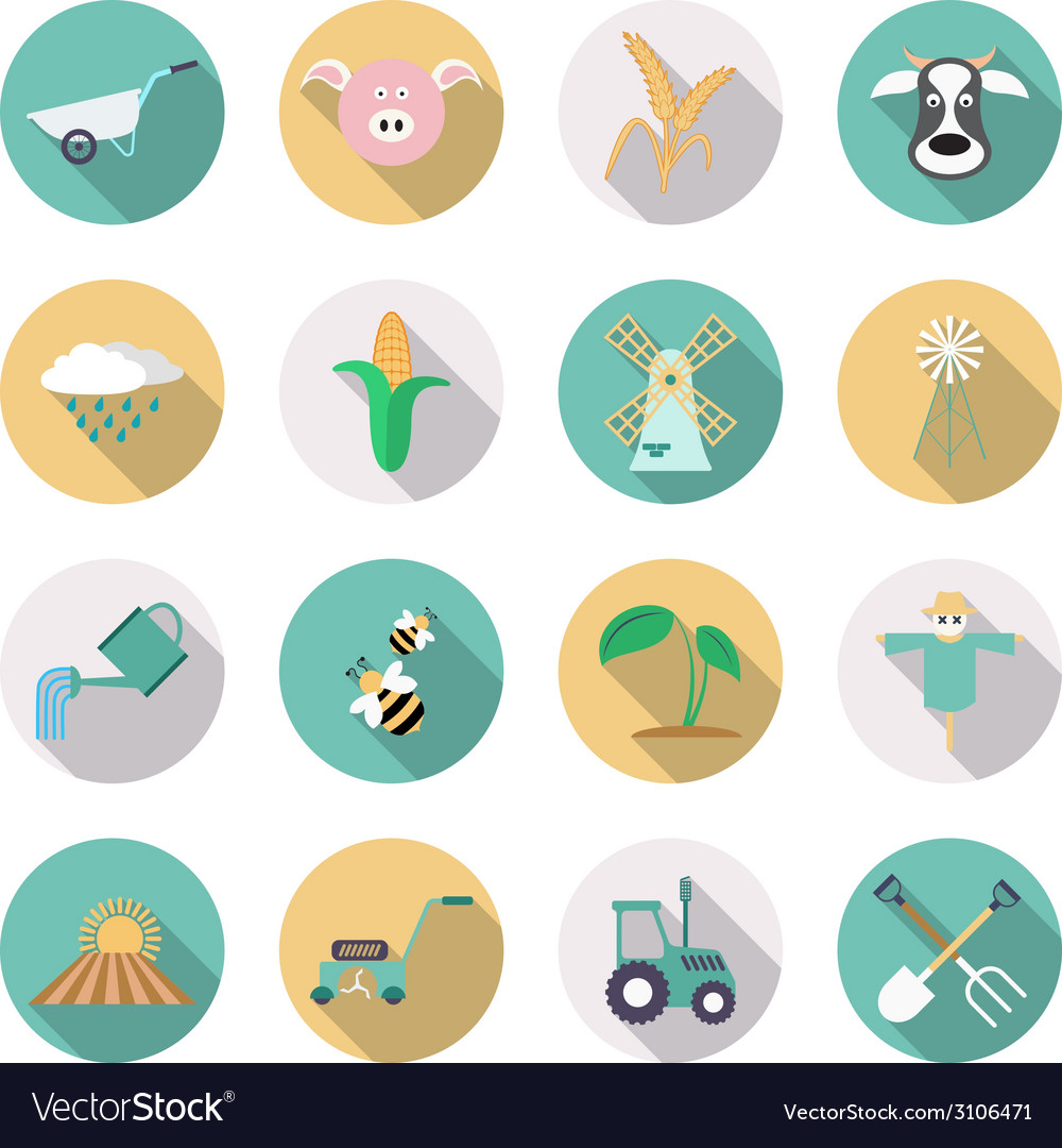 Agriculture and farming icons flat style with long vector | Price: 1 Credit (USD $1)