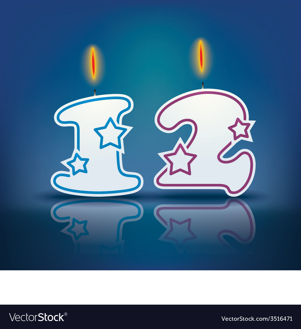 Birthday candle number 12 vector | Price: 1 Credit (USD $1)