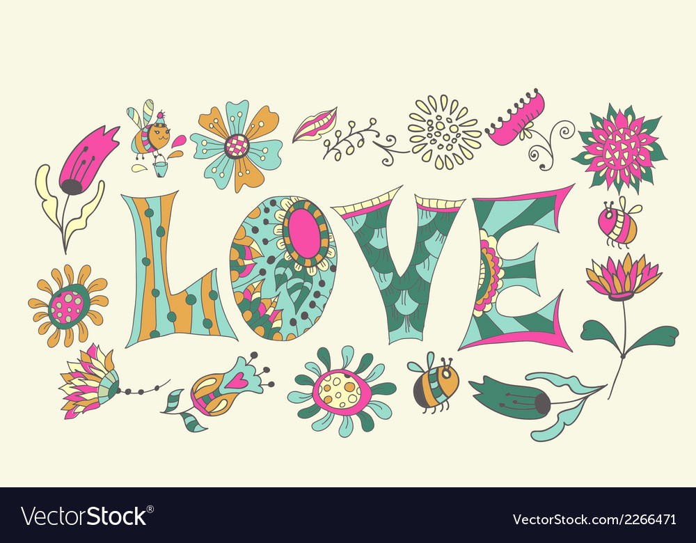 Color flowers and letters - love vector | Price: 1 Credit (USD $1)
