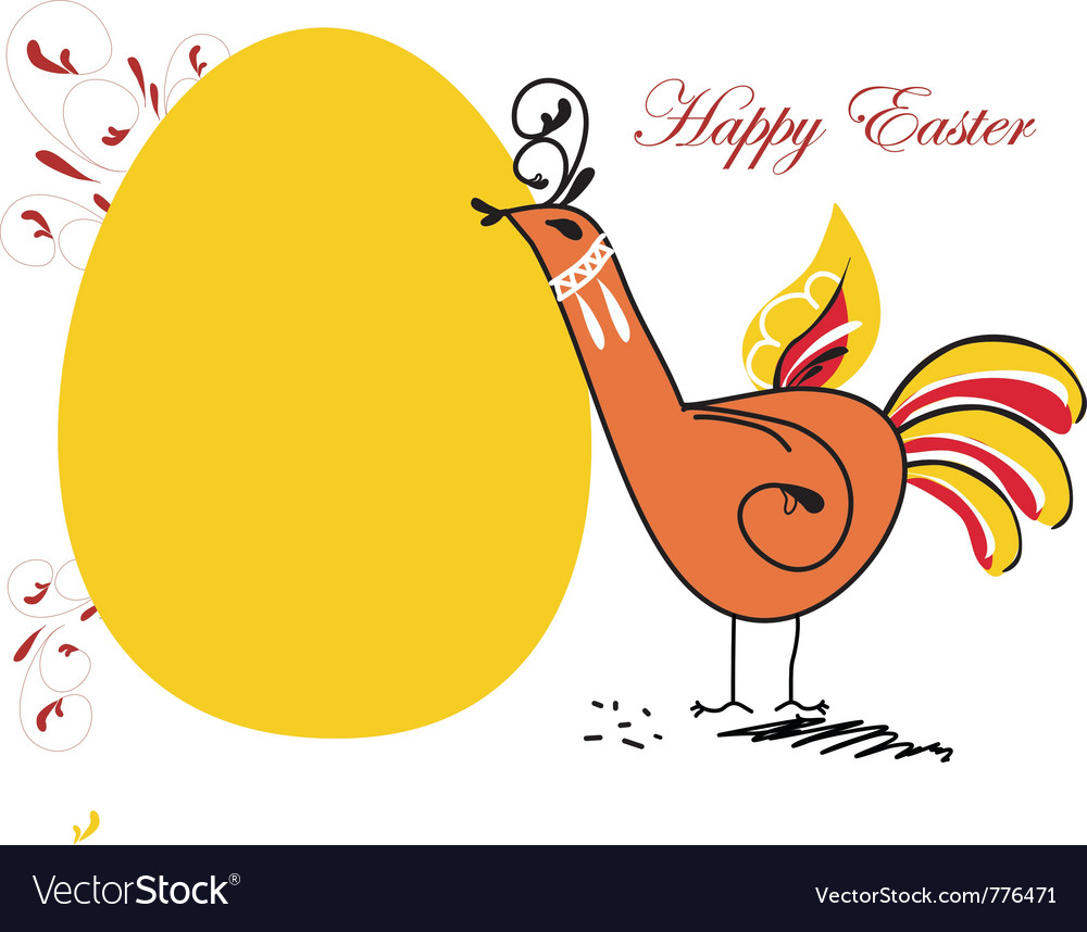Easter chicken in folk paintings vector | Price: 1 Credit (USD $1)