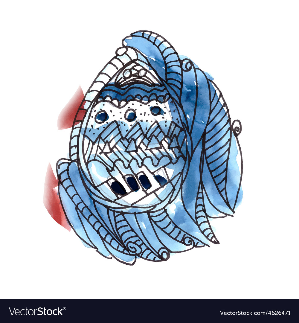 Easter greeting card with blue watercolor egg vector | Price: 1 Credit (USD $1)
