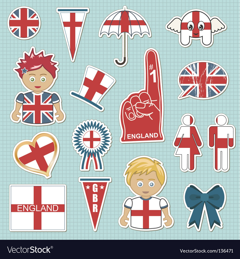 England supporter stickers vector | Price: 1 Credit (USD $1)