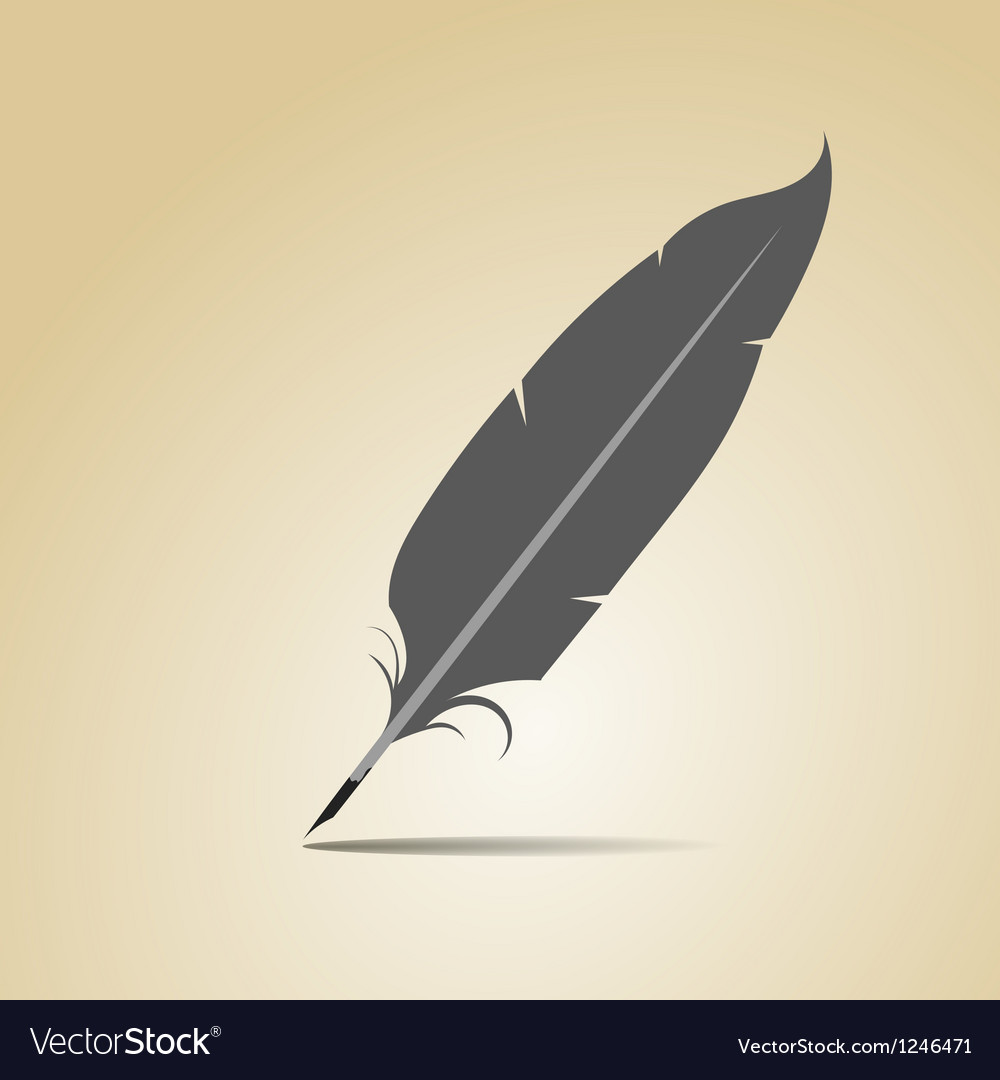 Feather on a yellow background vector | Price: 1 Credit (USD $1)