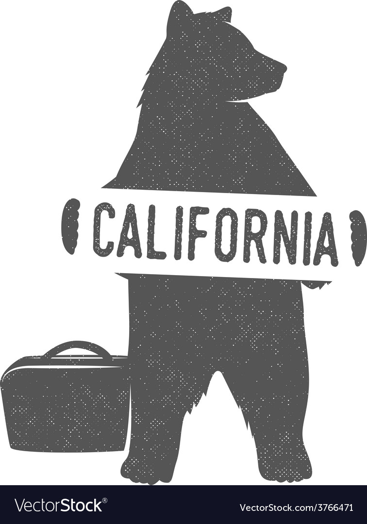 Funny hitchhiking bear with california sign vector | Price: 1 Credit (USD $1)