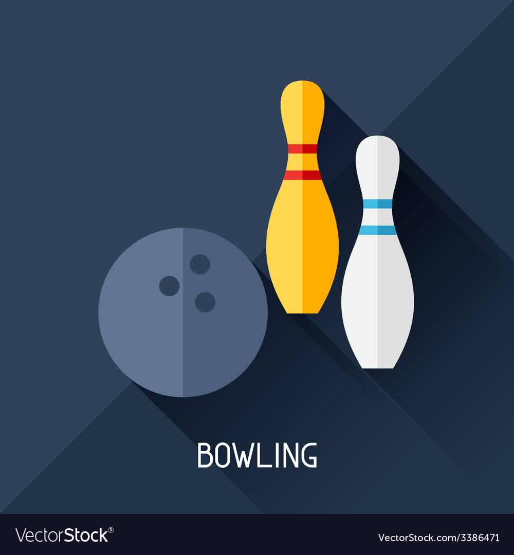 Game with bowling in flat design style vector | Price: 1 Credit (USD $1)