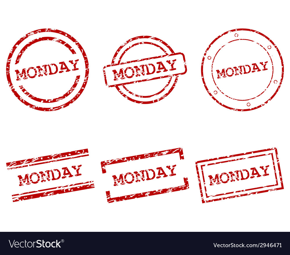 Monday stamps vector | Price: 1 Credit (USD $1)