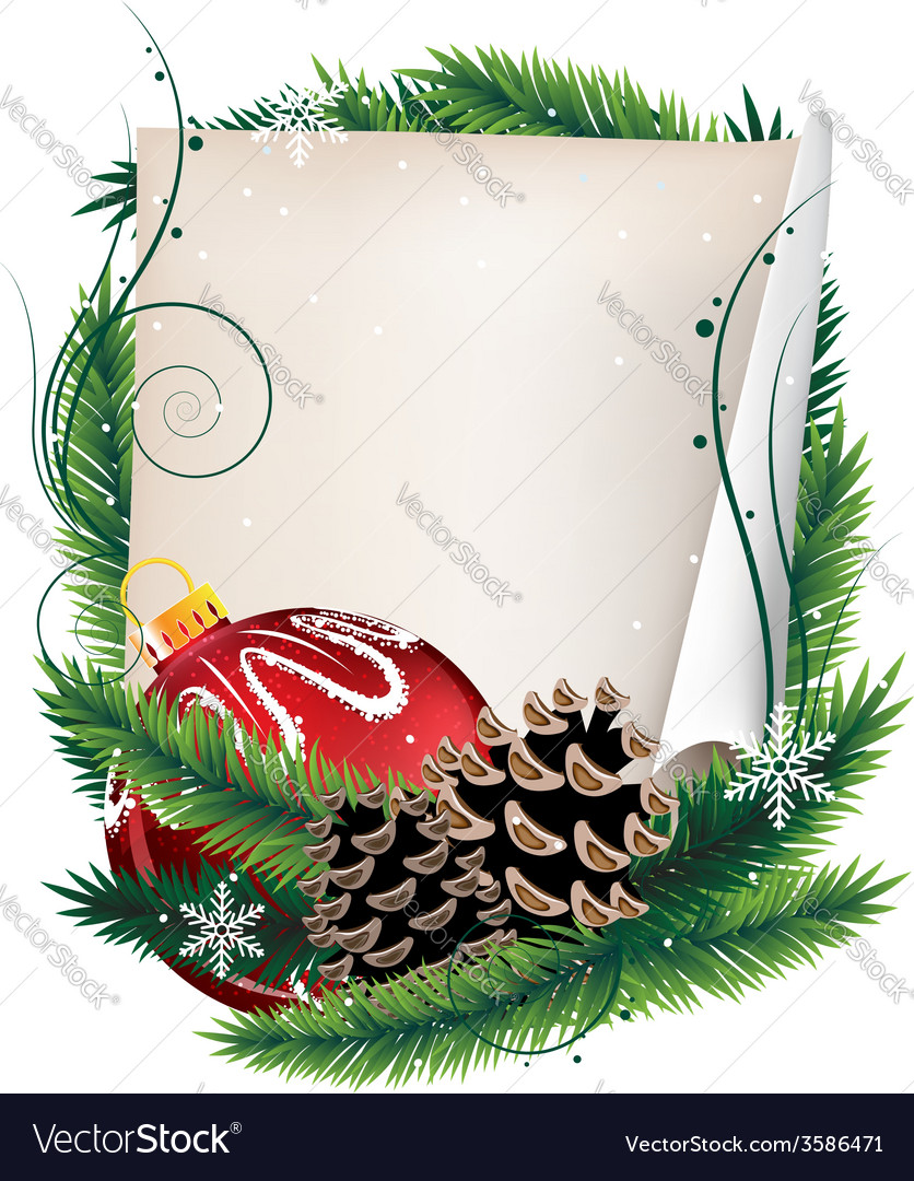 Pine tree wreath with christmas ball and sheet of vector   Price: 1 Credit (USD $1)