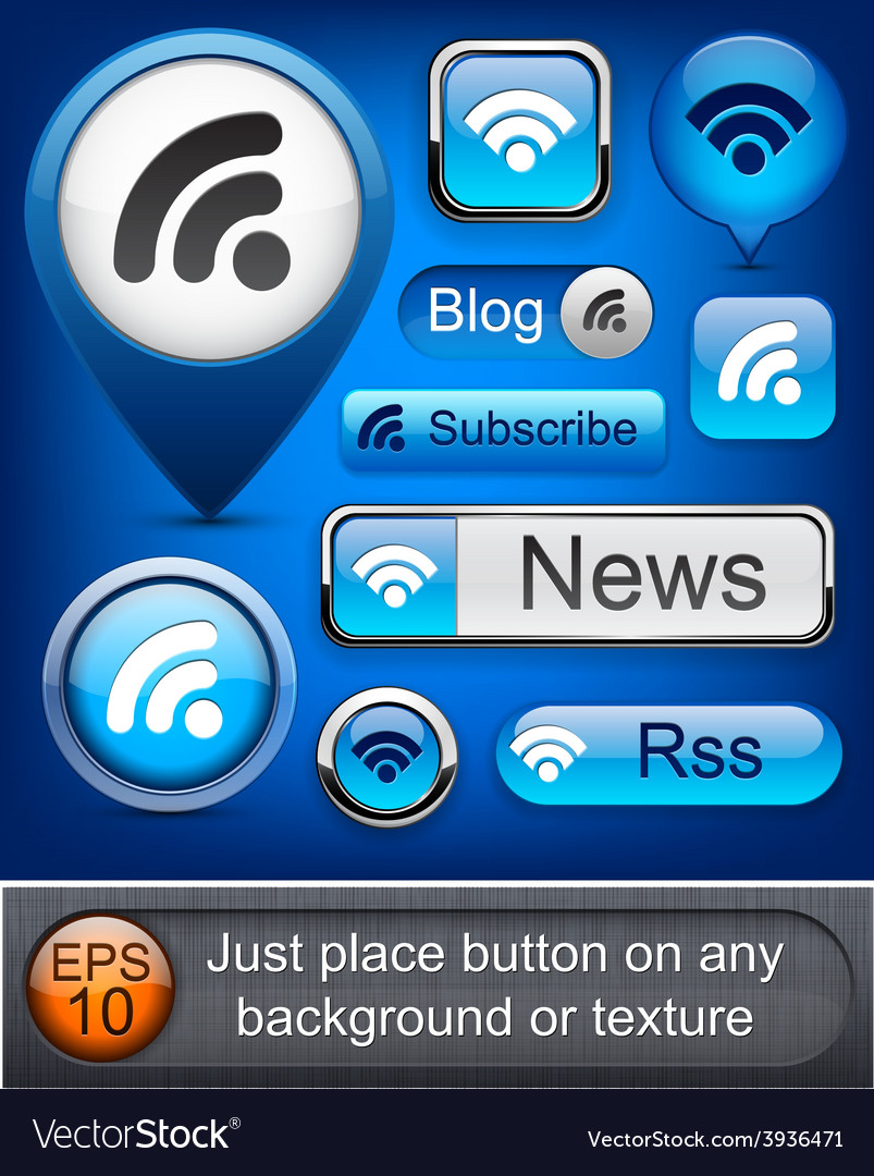Rss high-detailed modern buttons vector | Price: 1 Credit (USD $1)