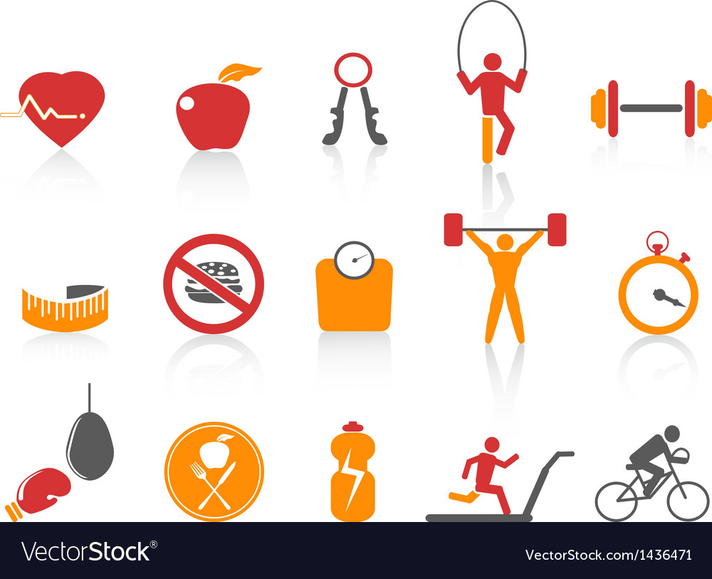 Simple fitness icons setorange color series vector | Price: 1 Credit (USD $1)