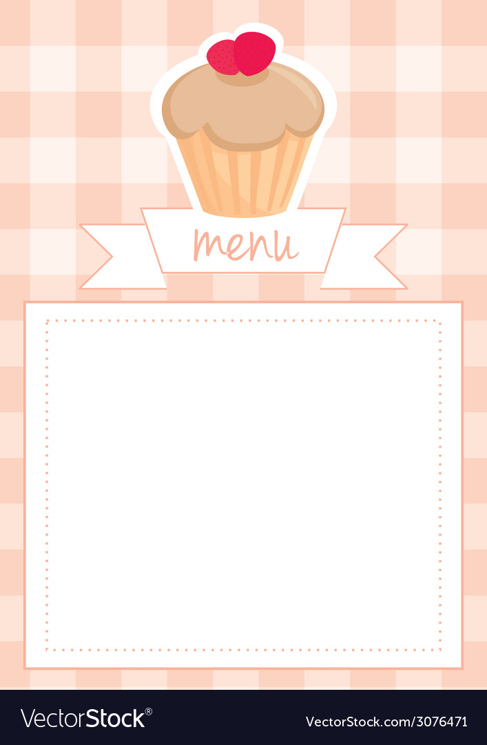 Template with cupcake plaid and white background vector | Price: 1 Credit (USD $1)