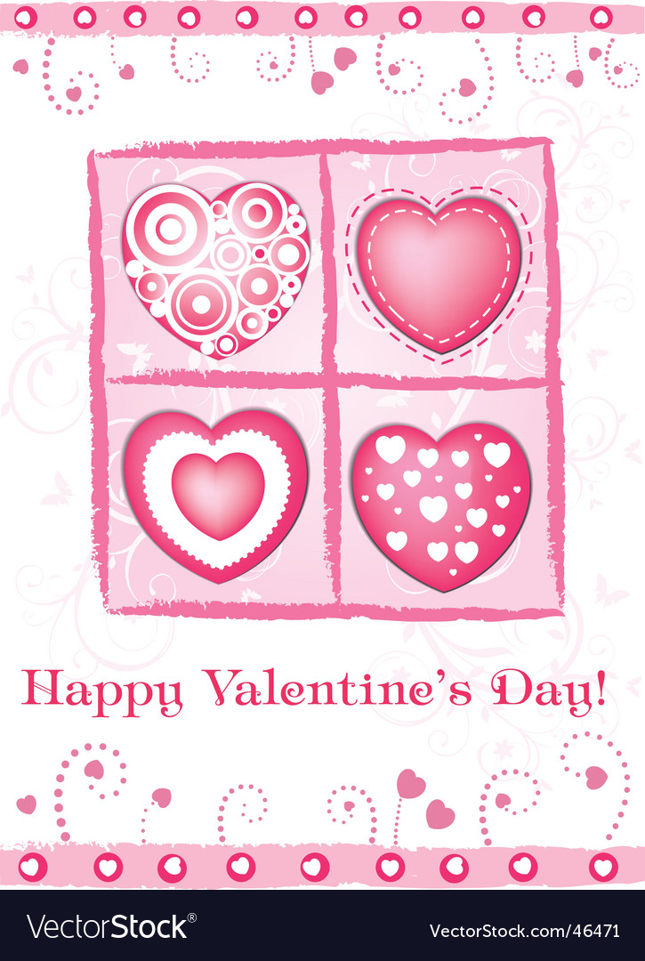 Valentine's day card with hearts vector | Price: 1 Credit (USD $1)