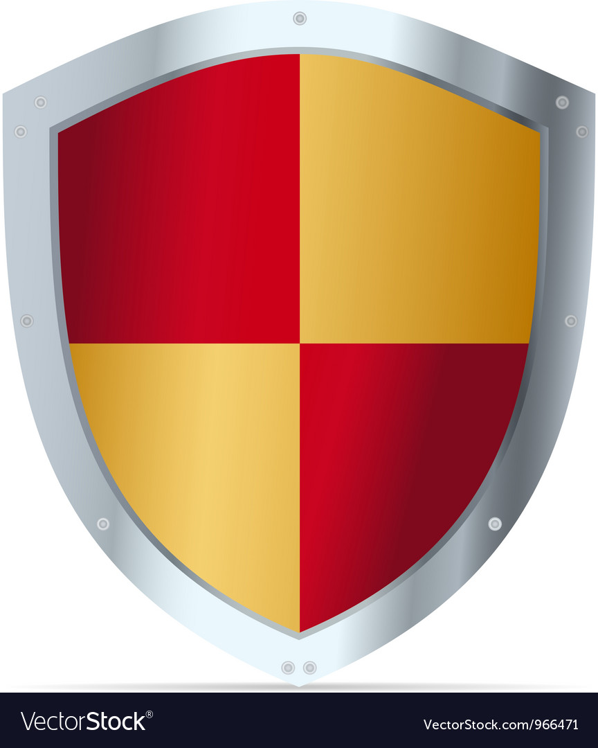 Yellow and red steel shield vector | Price: 1 Credit (USD $1)