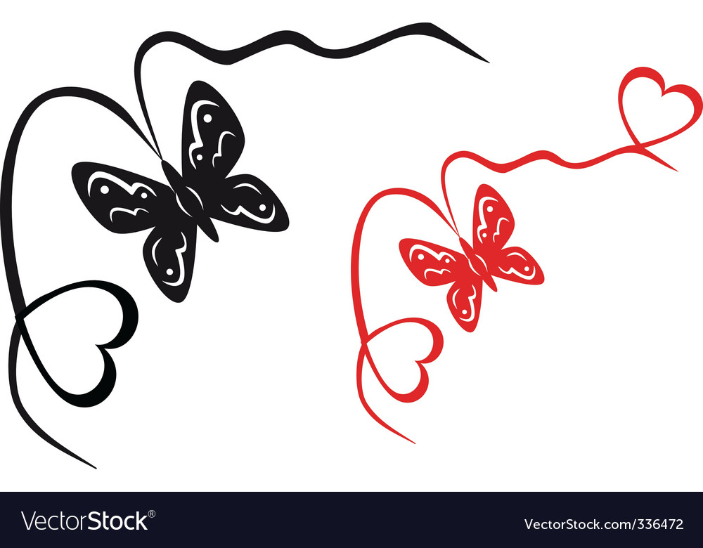 Abstract butterfly and hearts vector | Price: 1 Credit (USD $1)