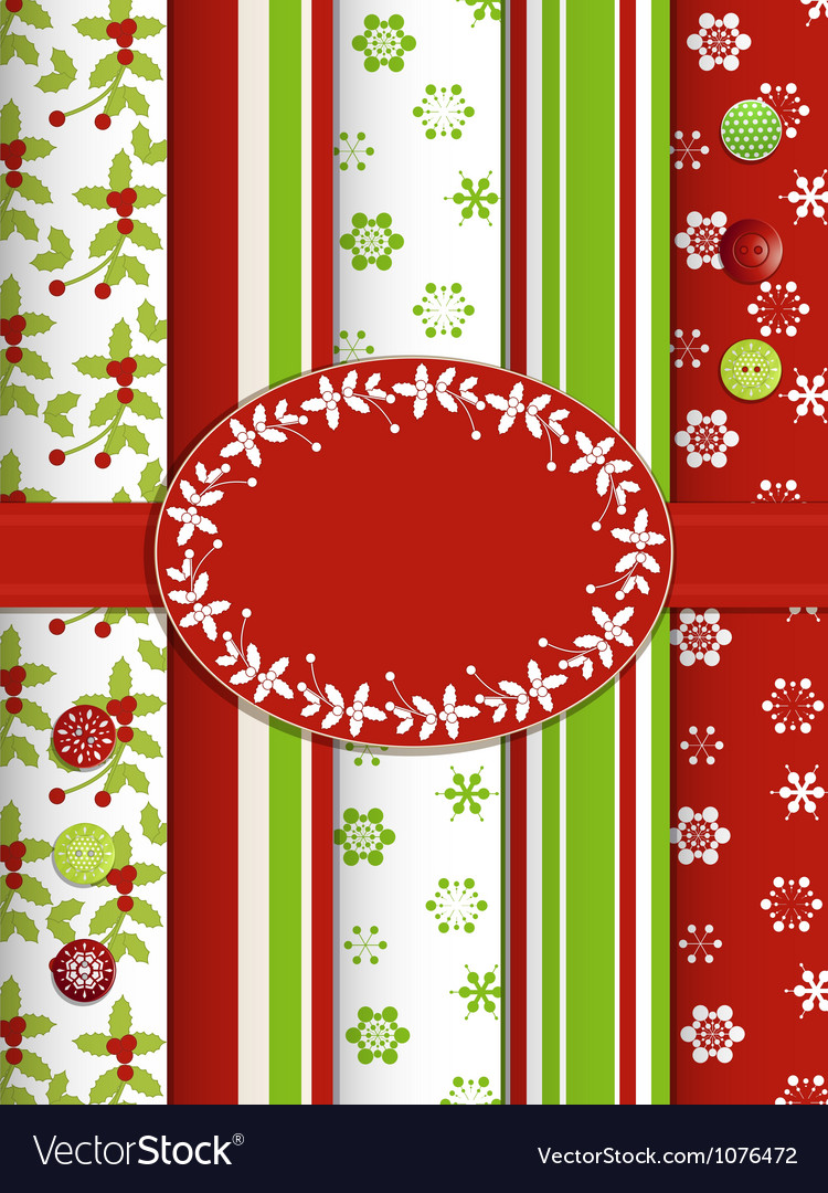 Christmas scrap book background with ribbon and bo vector | Price: 1 Credit (USD $1)
