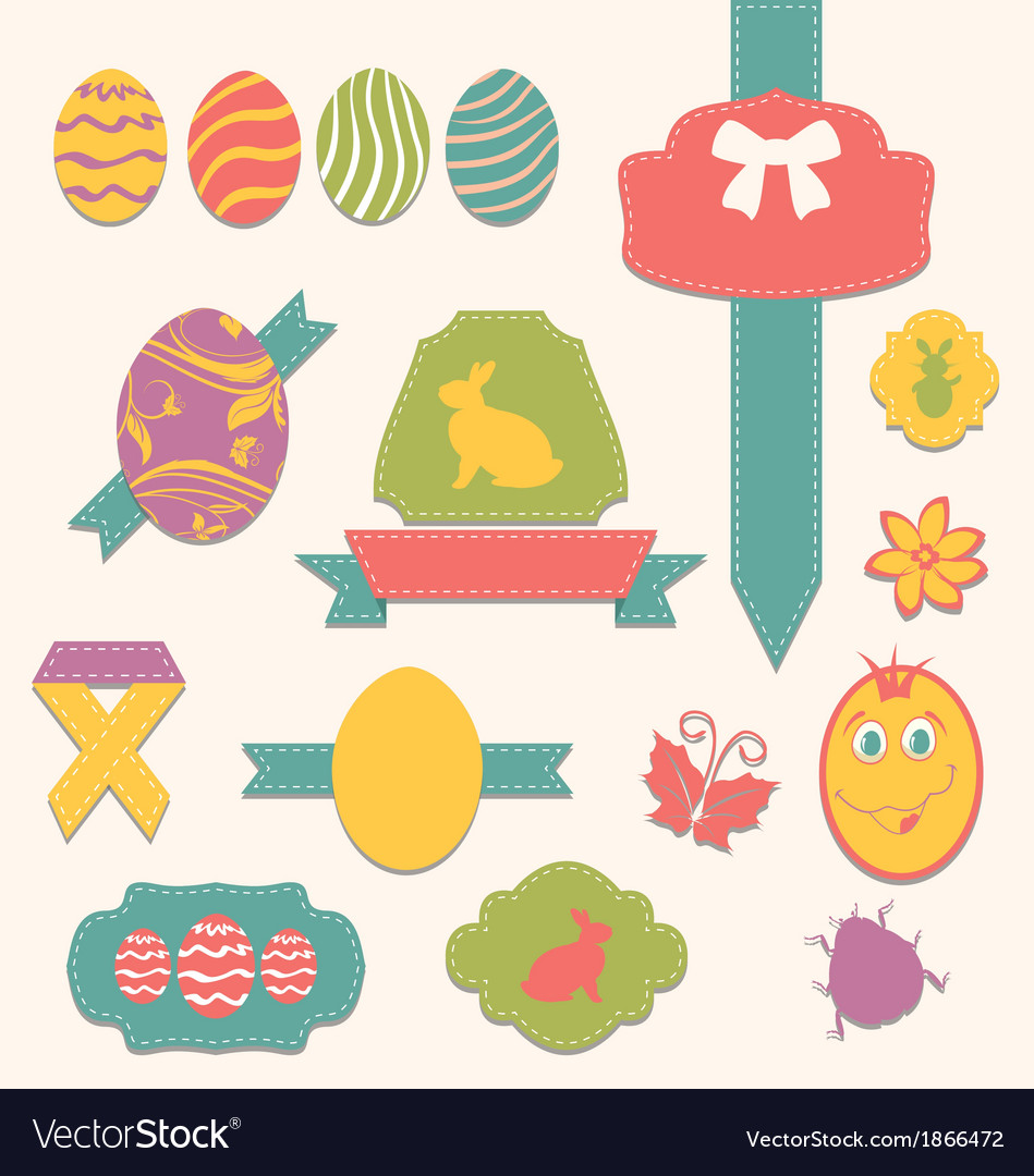 Easter scrapbook set - labels ribbons and other vector | Price: 1 Credit (USD $1)