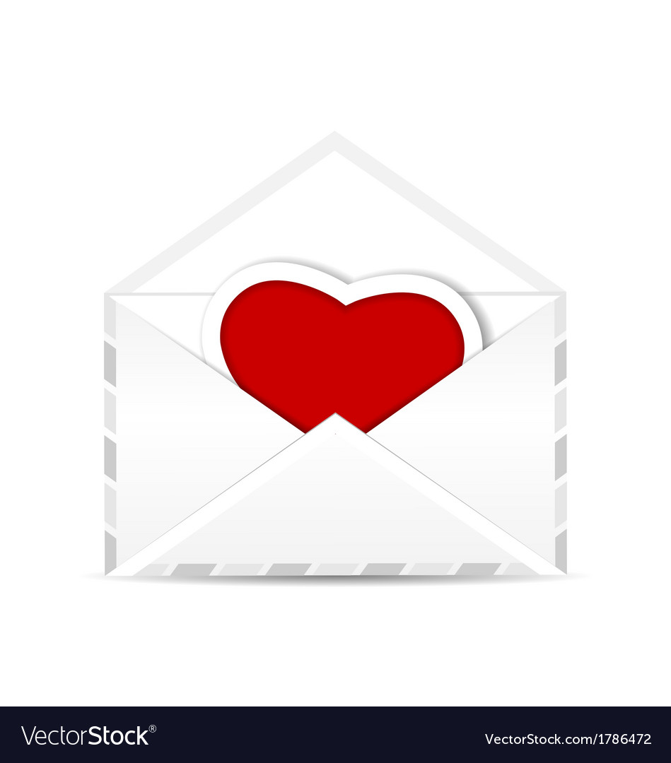Envelope with valentine red heart vector | Price: 1 Credit (USD $1)