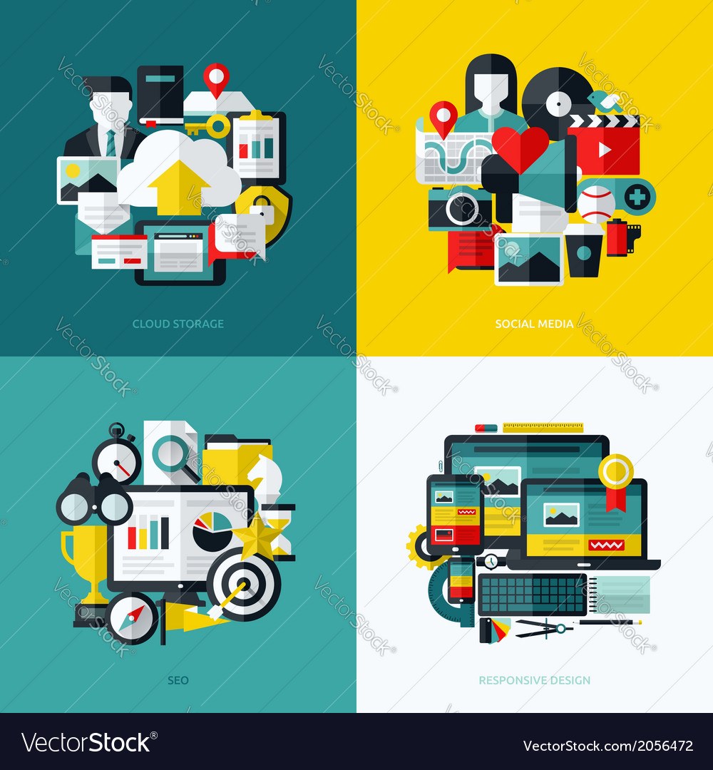 Flat icons set of cloud storage social media seo vector | Price: 1 Credit (USD $1)