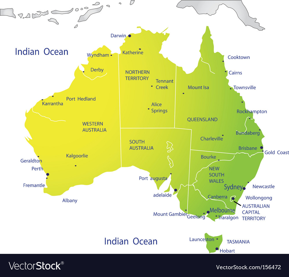 Political map of australia vector | Price: 1 Credit (USD $1)