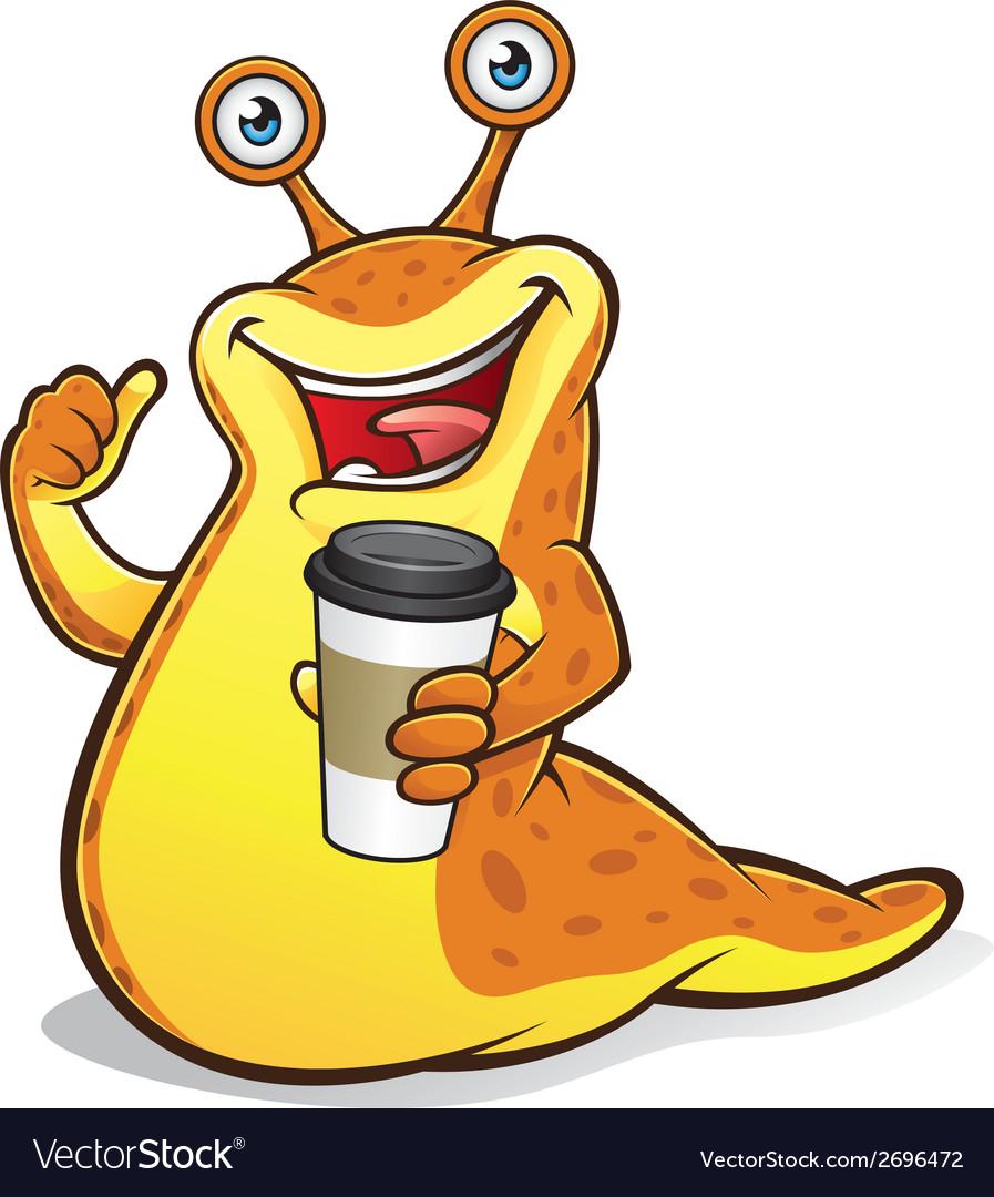 Slug with a cup of coffee vector | Price: 1 Credit (USD $1)