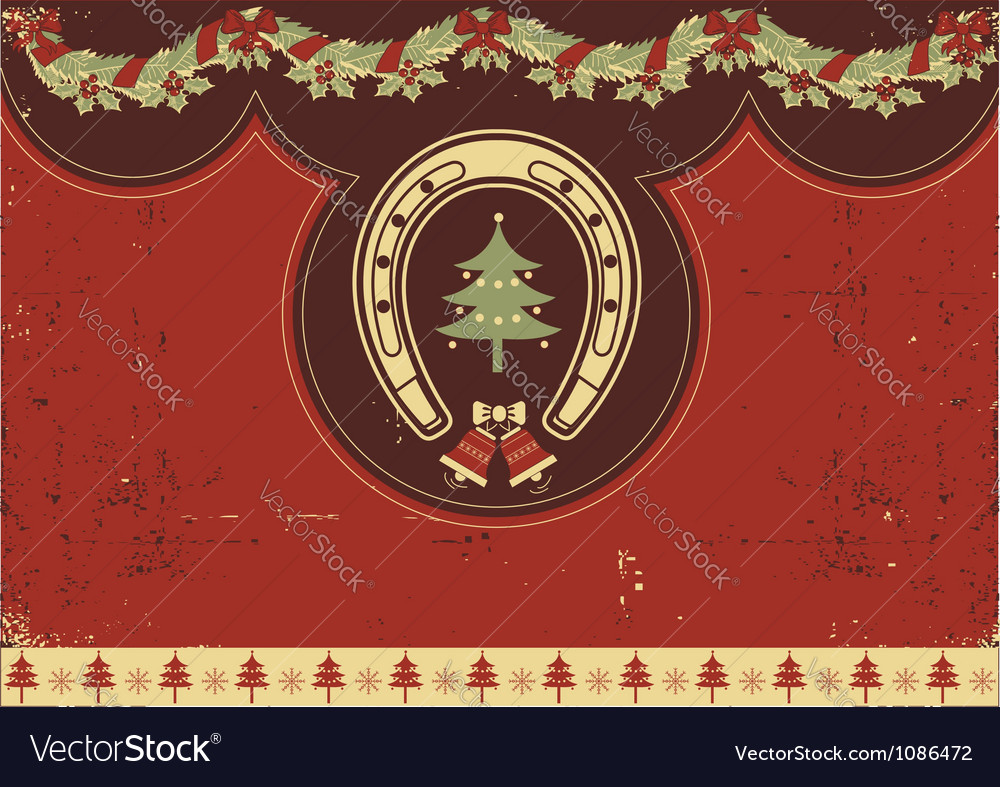 Vintage red christmas background with horseshoe vector | Price: 1 Credit (USD $1)