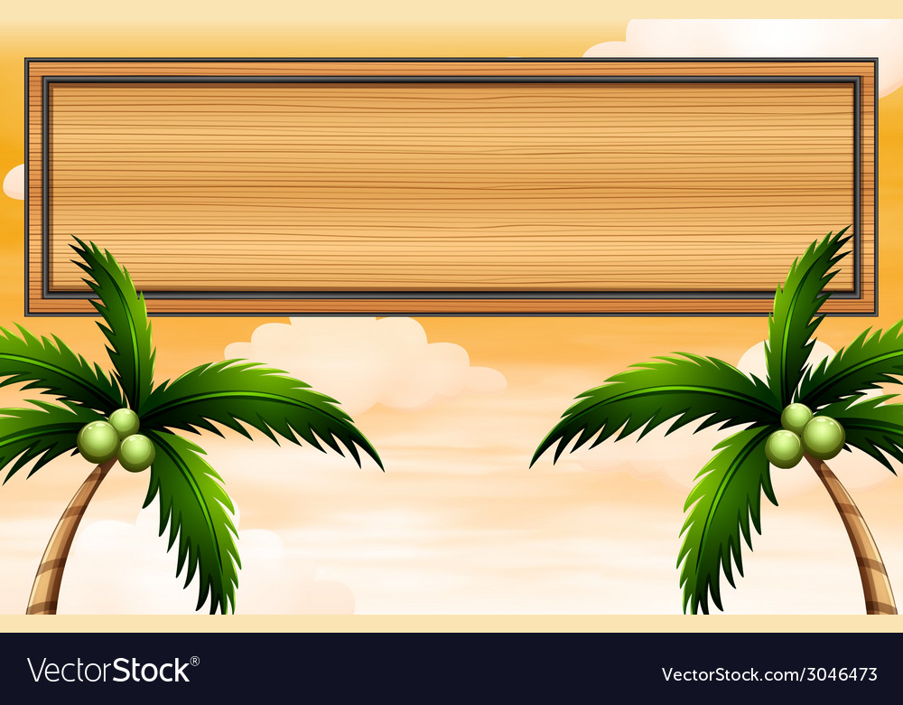 An empty wooden signboard with coconut trees vector | Price: 1 Credit (USD $1)