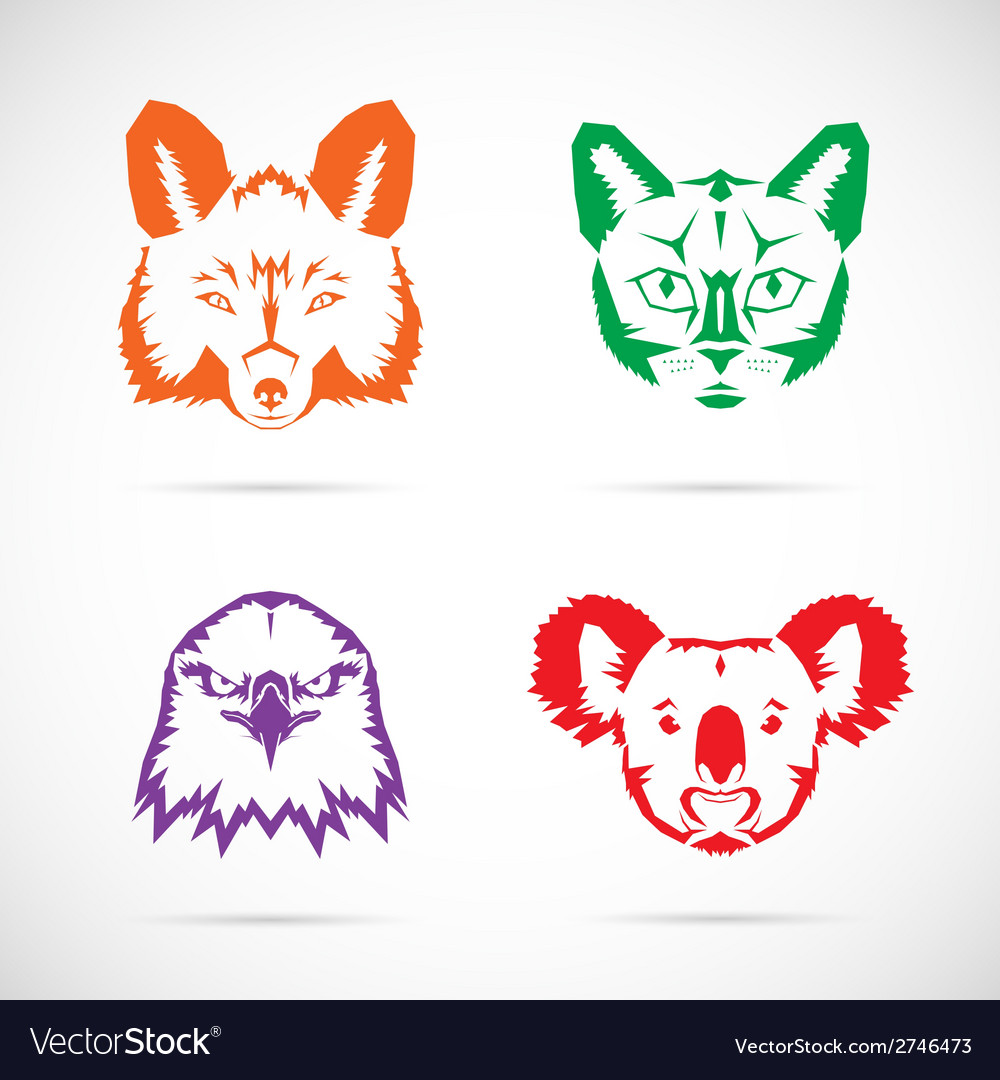 Animal faces symbol set vector | Price: 1 Credit (USD $1)