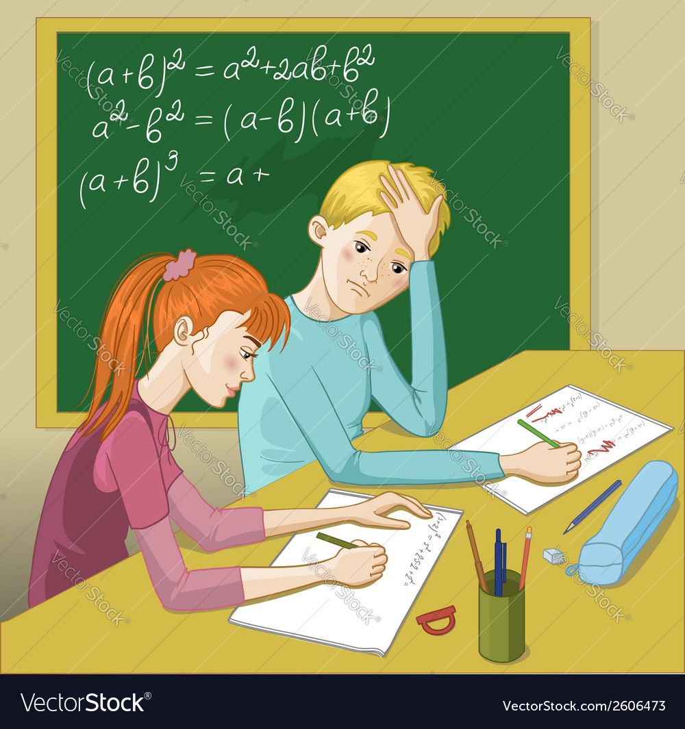 Boy and girl in a classroom vector | Price: 1 Credit (USD $1)