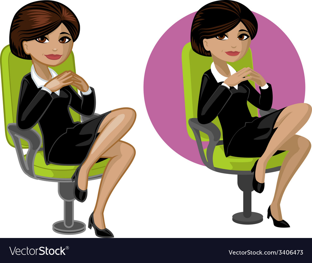 Cute young indonesian office woman on chair vector | Price: 3 Credit (USD $3)