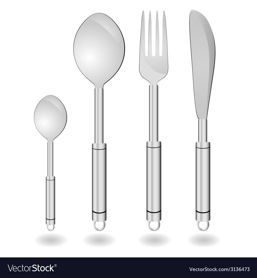 Cutlery in silver color vector | Price: 1 Credit (USD $1)