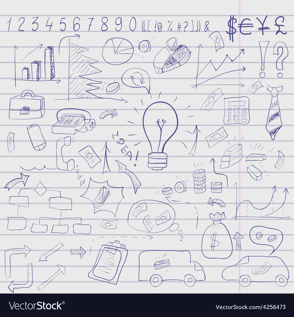 Doodle elements of business infographic vector | Price: 1 Credit (USD $1)