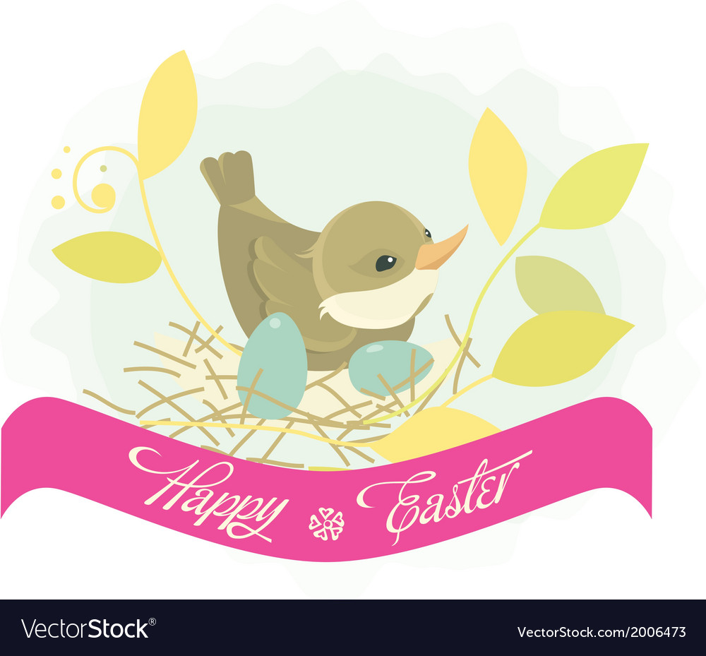 Easter background bird in nest vector | Price: 1 Credit (USD $1)