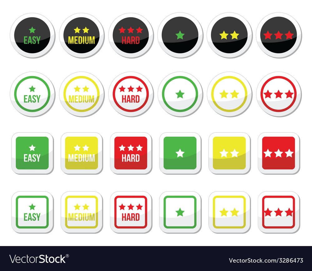 Easy medium hard level with stars icons set vector   Price: 1 Credit (USD $1)