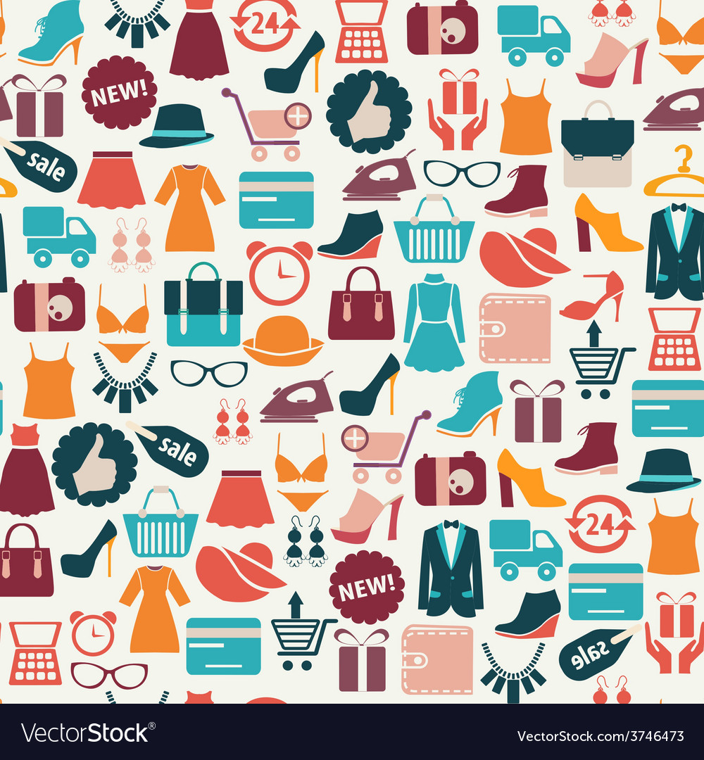 Fashion background shopping icons vector | Price: 1 Credit (USD $1)