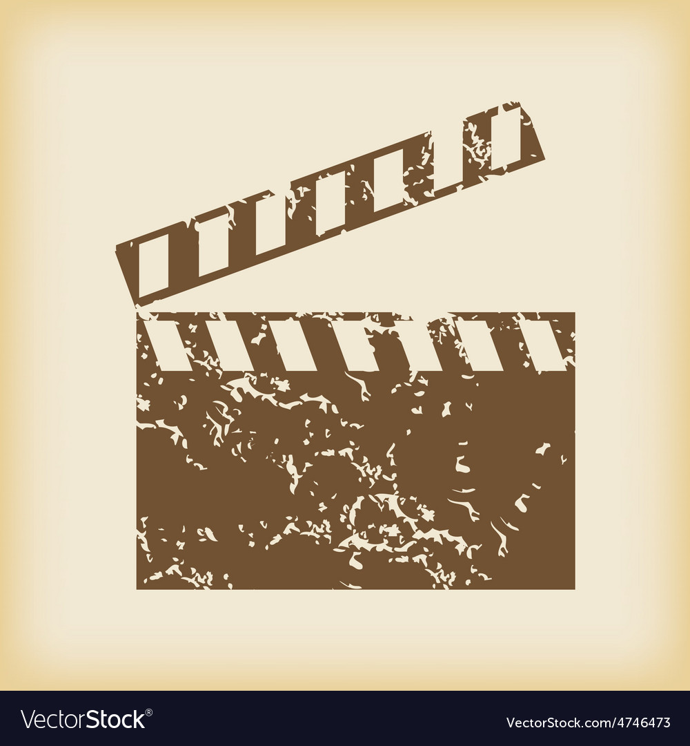 Grungy clapperboard icon vector | Price: 1 Credit (USD $1)
