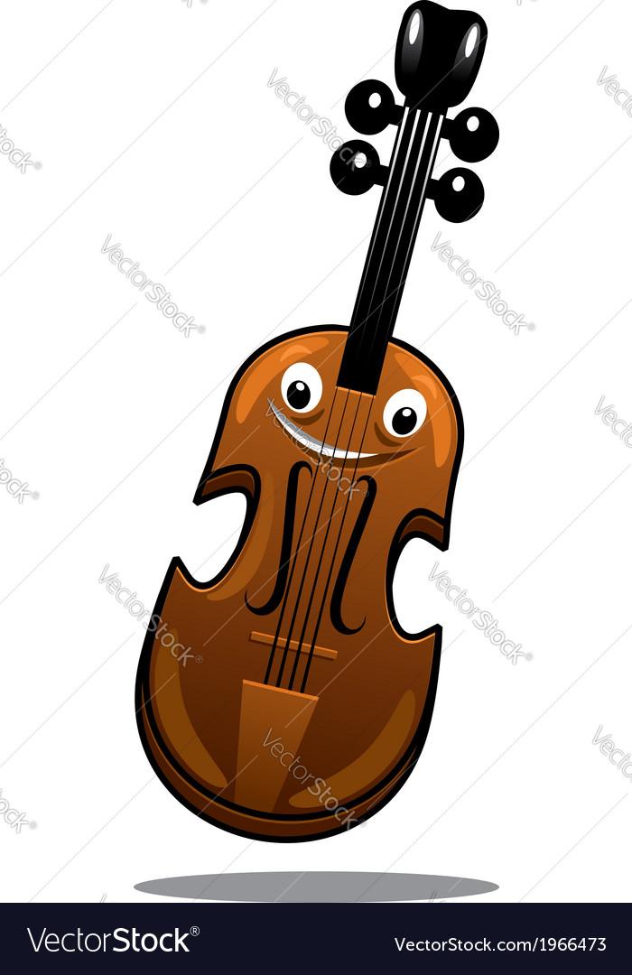 Happy brown cartoon wooden violin vector | Price: 1 Credit (USD $1)