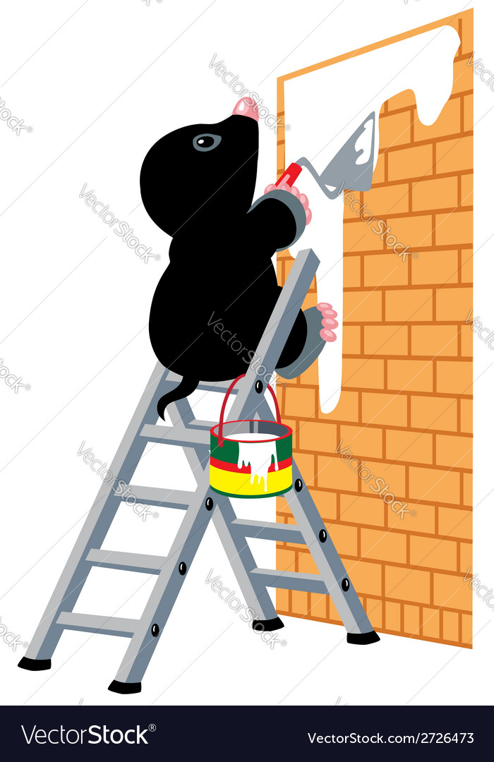 Mole plastering wall vector | Price: 1 Credit (USD $1)