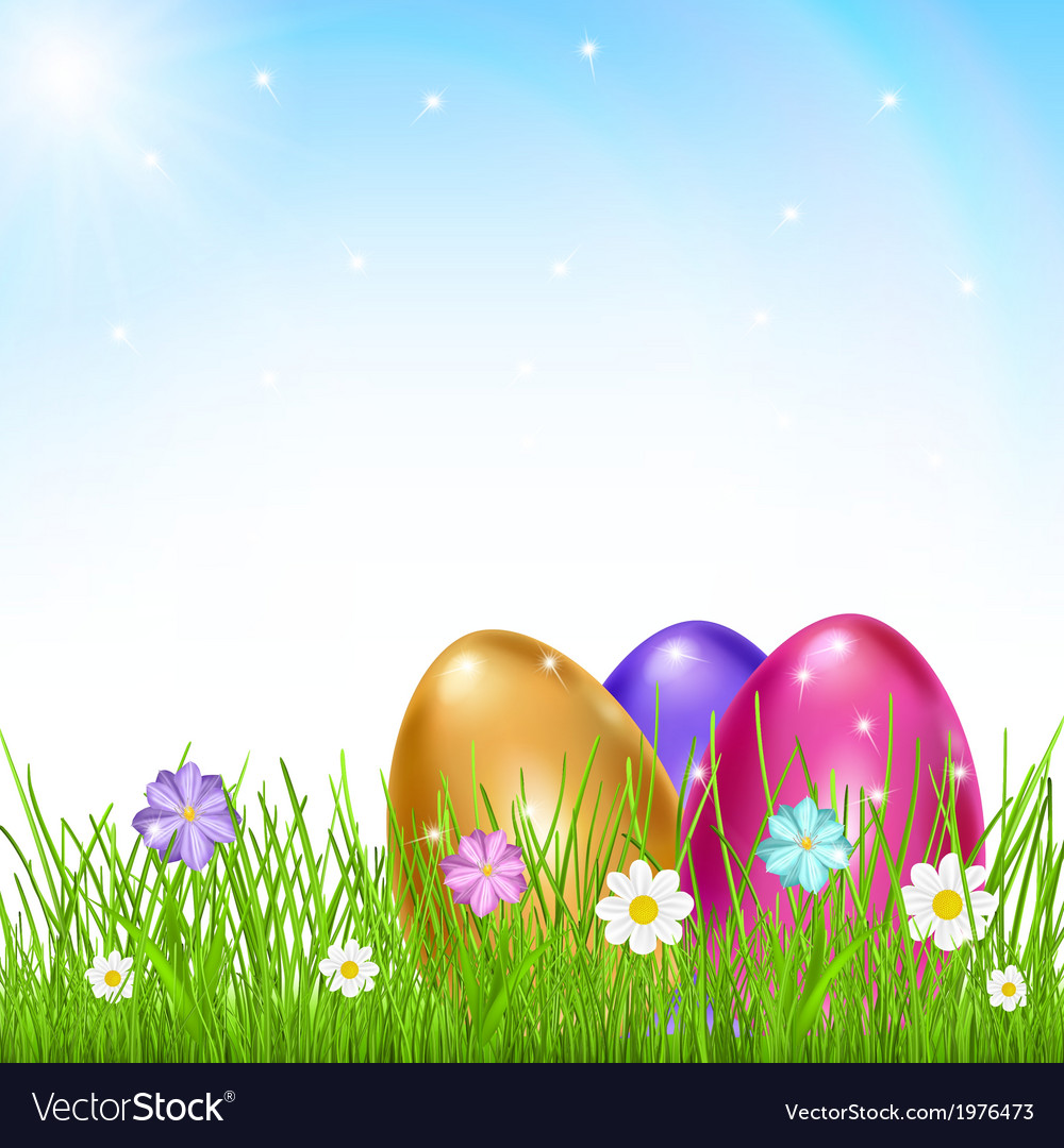Multicolored eggs in grass with flowers vector | Price: 1 Credit (USD $1)