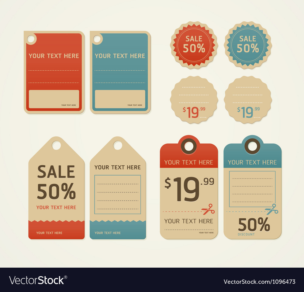 Price tags retro color design vector | Price: 1 Credit (USD $1)