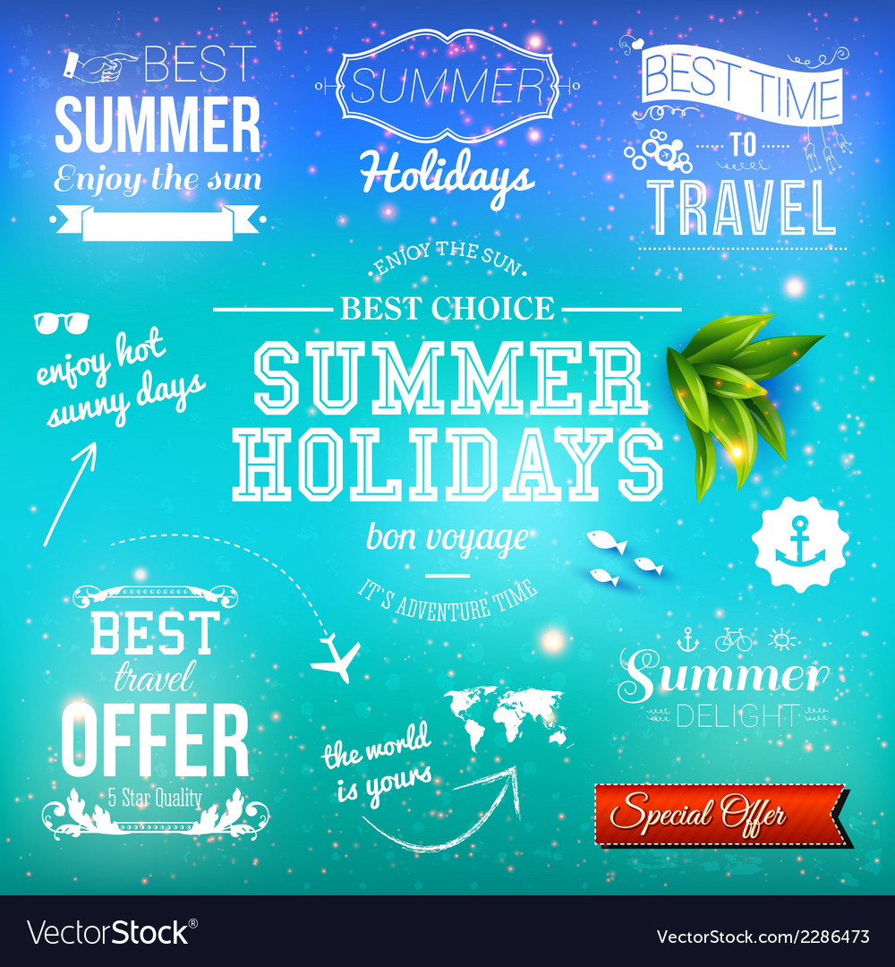 Summer design set of typographic labels for summer vector | Price: 1 Credit (USD $1)
