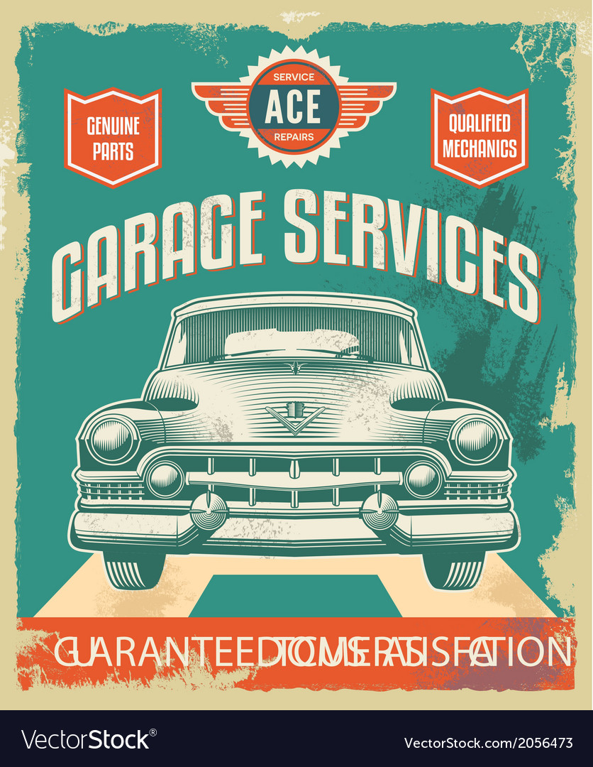 Vintage sign - advertising poster - classic car vector | Price: 3 Credit (USD $3)