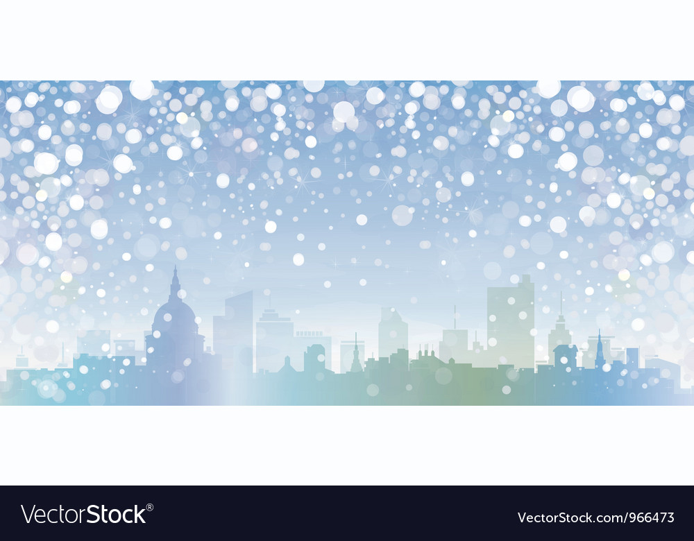 Winter cityscape vector | Price: 1 Credit (USD $1)