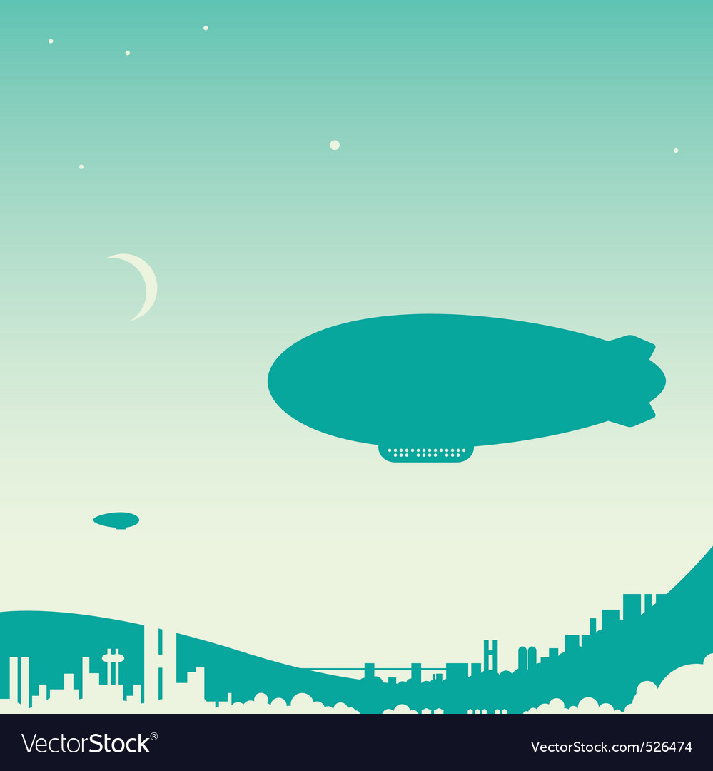Airship over city vector | Price: 1 Credit (USD $1)